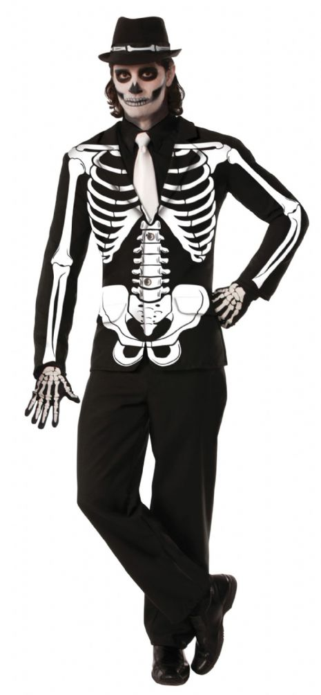 Adults Skeleton Jacket Costume Living Dead Halloween Skull Pirates Fancy Dress
